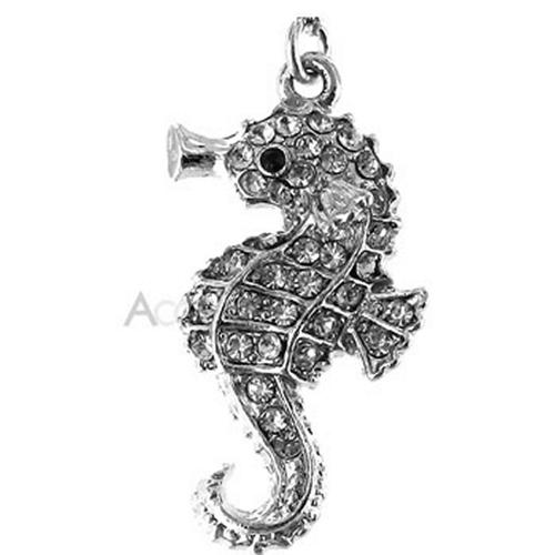 Sparkling Cubic Stone Sea Horse Cell Phone Charm - Clear