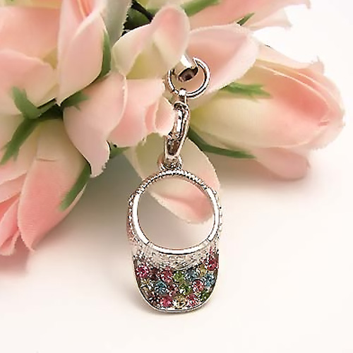 Sparkling Sun Visor Cubic Stone Cell Phone Charm , Strap - Multi-Color