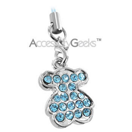 Jewel Encrusted Teddy Bear Cell Phone Charm - Blue