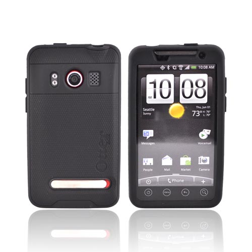 Original Otterbox HTC EVO 4G Impact Series Silicone Case w/ Screen Protector, HTC1-EVO4G-20-C - Black