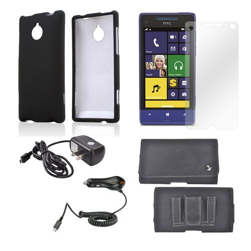 Essential Bundle Package w/ Black Rubberized Hard Case, Screen Protector, Leather Pouch, Car & Travel Charger for HTC 8XT