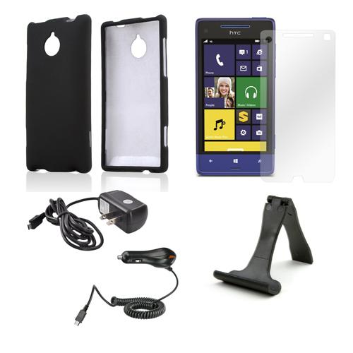 Essential Bundle Package w/ Black Rubberized Hard Case, Screen Protector, Portable Stand, Car & Travel Charger for HTC 8XT