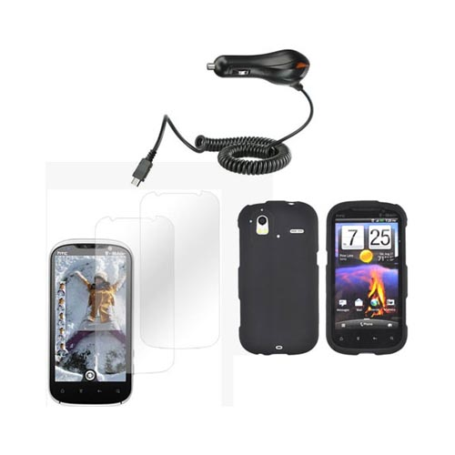 HTC Amaze 4G Basic Bundle Package w/ Black Rubberized Hard Case, 2 Pack Screen Protector, and Car Charger