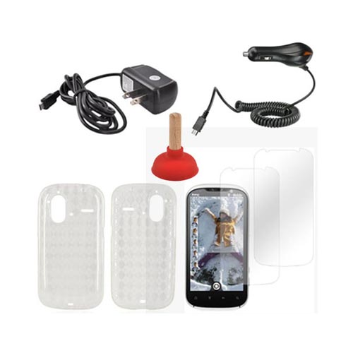 HTC Amaze 4G Essential Bundle Package w/ Clear Crystal Silicone Case, 2 Pack Screen Protector, Red Plunger Stand, Car & Travel Charger