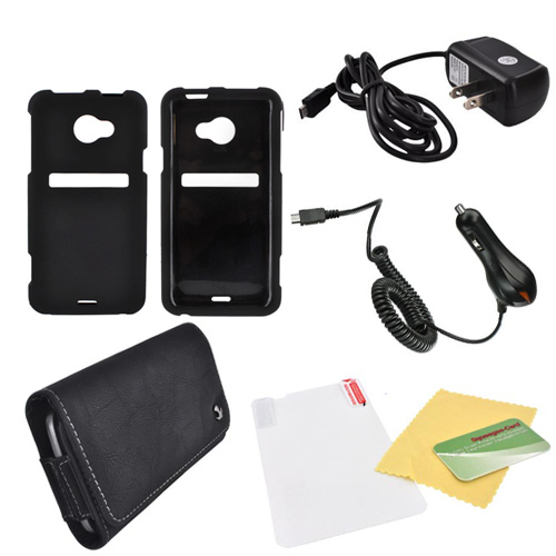 HTC EVO 4G LTE Essential Bundle Package w/ Black Rubberized Hard Case, Screen Protector, Leather Pouch, Car & Travel Charger
