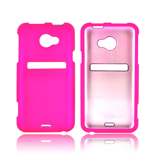 HTC EVO 4G LTE Essential Girly Bundle Package w/ Hot Pink & Purple Rubberized Hard Case, Mirror Screen Protector, Car & Travel Charger??