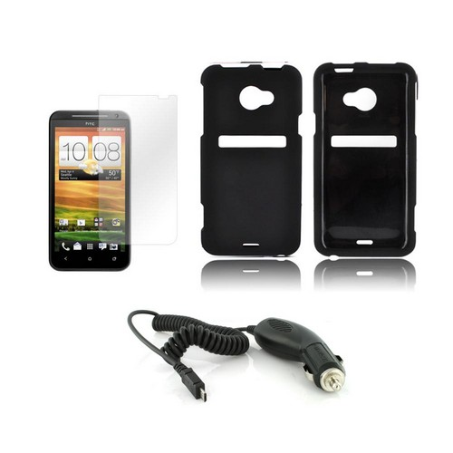 HTC EVO 4G LTE Essential Bundle Package w/ Black Rubberized Hard Case, Car Charger, & Screen Protector