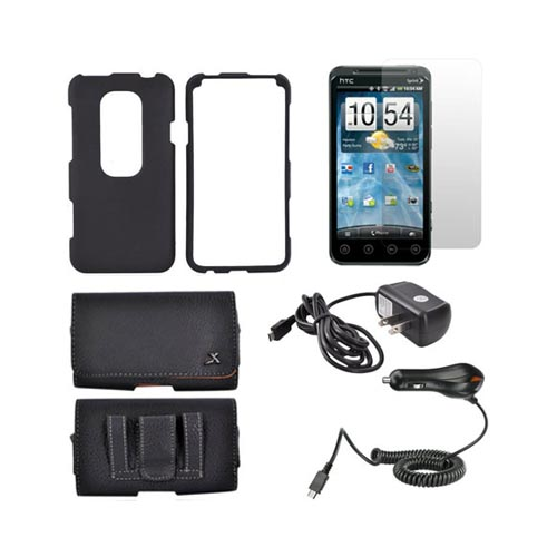 HTC EVO 3D Essential Bundle Package w/ Black Rubberized Hard Case, Screen Protector, Leather Pouch, Car & Travel Charger