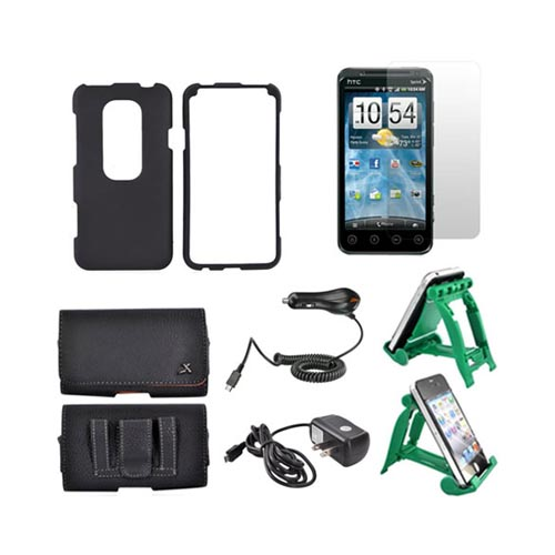 HTC EVO 3D Essential Bundle Package w/ Black Rubberized Hard Case, Screen Protector, Leather Pouch, Car & Travel Charger, and Green 3Feet Holder Stand