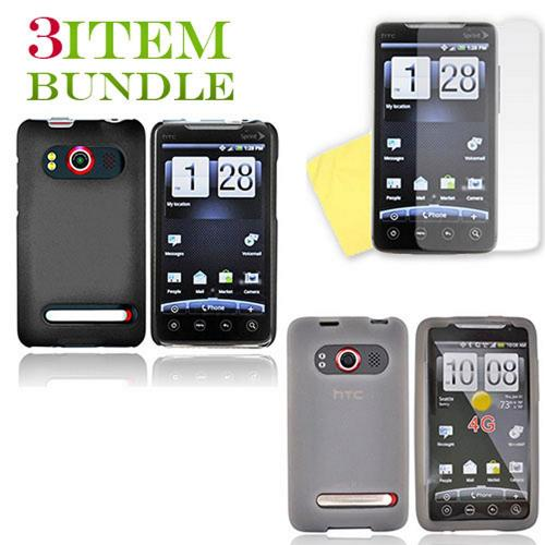 HTC EVO 4G Bundle Package - Black Hard Case, Silicone Case & Screen Protector - (Essential Combo)