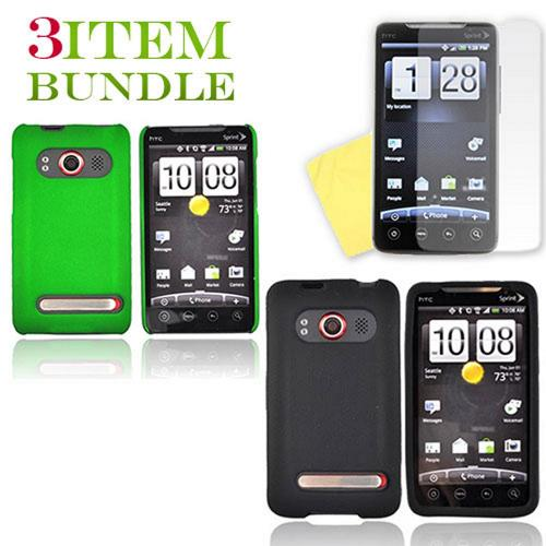 HTC EVO 4G Bundle Package - Green Hard Case, Silicone Case & Screen Protector - (Essential Combo)
