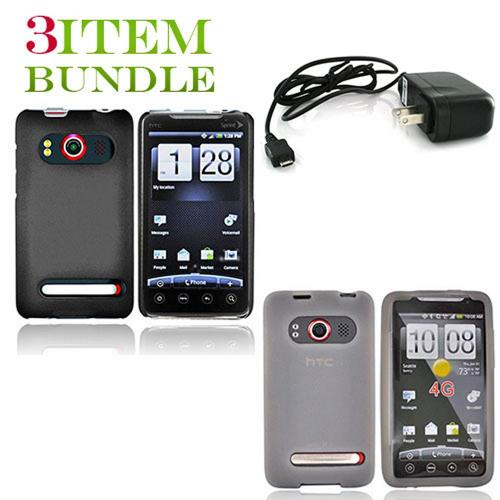 HTC EVO 4G Bundle Package - Black Hard Case, Silicone Case & Travel Charger - (Essential Combo)