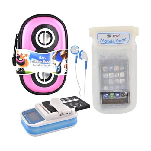 Universal Summer Bundle Package w/ Pink iLuv Speaker, Battery Charger, and DiCAPac Waterproof Cell Phone Case