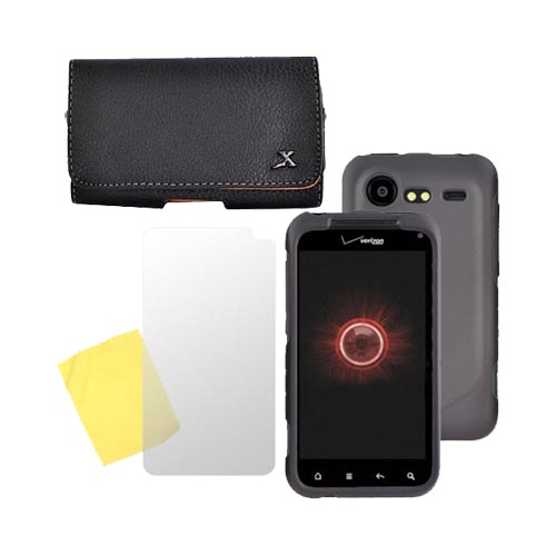 HTC Droid Incredible 2 Essential Bundle Package w/ Black Hard Case, Screen Protector and Leather Pouch