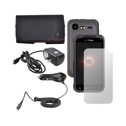 HTC Droid Incredible 2 Essential Bundle Package w/ Black Hard Case, Screen Protector, Leather Pouch, Travel and Car Charger