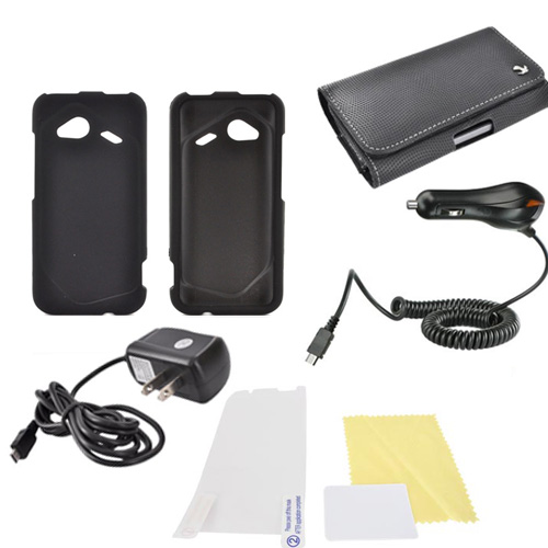 HTC Droid Incredible 4G LTE Essential Bundle Package w/ Black Rubberized Hard Case, Screen Protector, Leather Pouch, Car & Travel Charger
