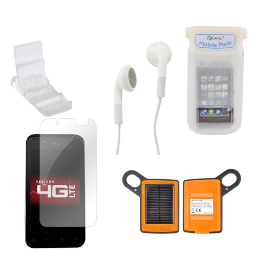HTC Droid Incredible 4G LTE Summer Bundle Package w/ DiCAPac Waterproof Phone Case, Anti-Glare Screen Protector, Solar Charger, 3.5mm Earbuds, and Portable Keychain Kick Stand