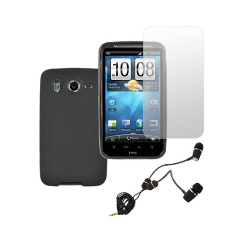 HTC Inspire 4G Essential Bundle Package w/ Black Crystal Skin Case, Screen Protector and Universal Headset w/ Push to Answer & Mic