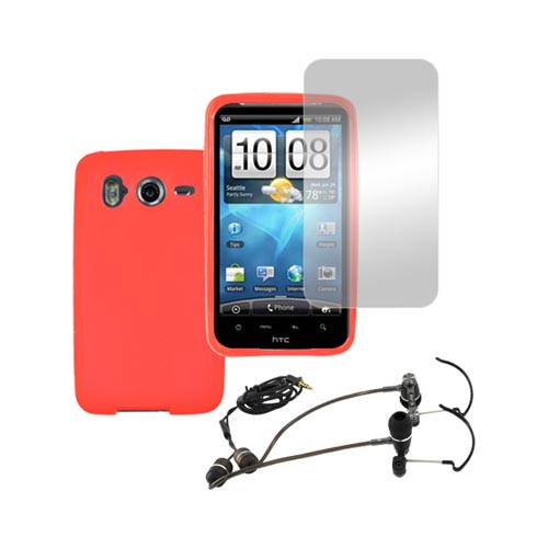HTC Inspire 4G Girly Bundle Package w/ Red Crystal Skin Case, Screen Protector and RF3 Envi Headset