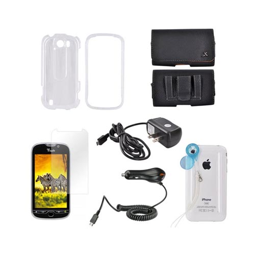 HTC MyTouch 4G Slide Essential Bundle Package w/ Transparent Clear Hard Case, Screen Protector, Leather Pouch, Car & Travel Charger, & Jelly Lens