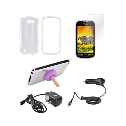 HTC MyTouch 4G Slide Essential Bundle Package w/ Clear Hard Case, Screen Protector, Car & Travel Charger, & Purple Plunger Stand