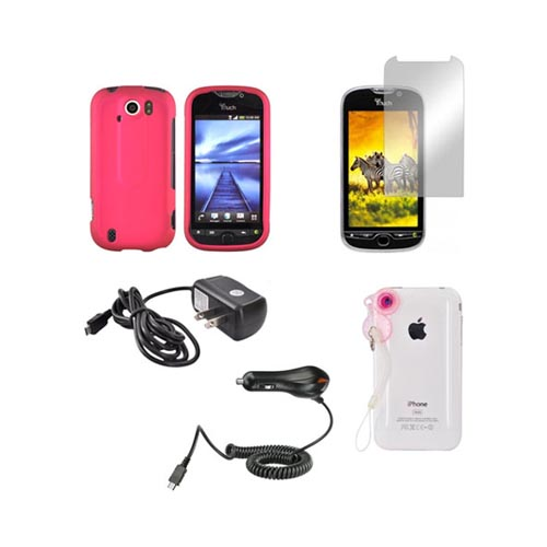 HTC MyTouch 4G Slide Pink Bundle Package w/ Rose Pink Rubberized Hard Case, Mirror Screen Protector, Car & Travel Charger, & Jelly Lens