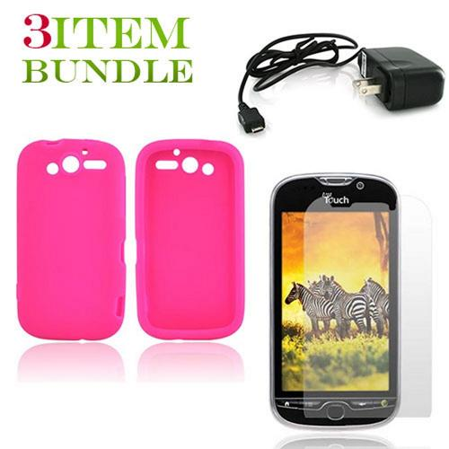 T-Mobile MyTouch 4G Bundle Package - Hot Pink Silicone Case, Screen Protector & Travel Charger - (Essential Combo)