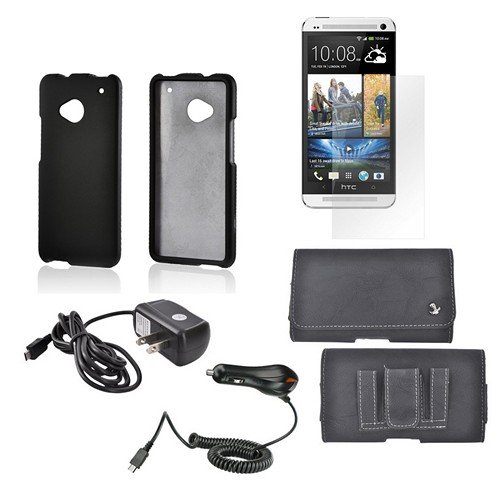 Essential Bundle Package w/ Black Rubberized Hard Case, Screen Protector, Leather Pouch, Car & Travel Charger for HTC One