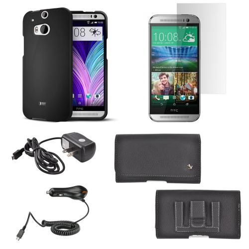 Essential Starter Bundle Package w/ Black Rubberized Hard Case, Screen Protector, Leather Pouch, Car & Travel Charger for HTC One (M8)