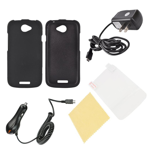 HTC One S Essential Bundle Package w/ Black Rubberized Hard Case, Screen Protector, Car & Travel Charger