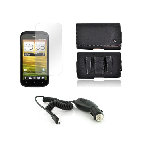 HTC One S Essential Bundle Package w/ Premium Horizontal Leather Pouch, Screen Protector, &  Car Charger