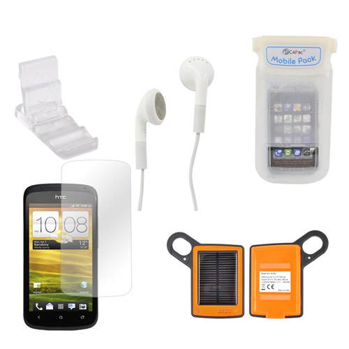 Htc One S Summer Package W/ Dicapac Waterproof Phone Case, Anti-glare Screen Protector, Solar Charger, 3.5mm Earbuds, Portable Keychain Kick Stand