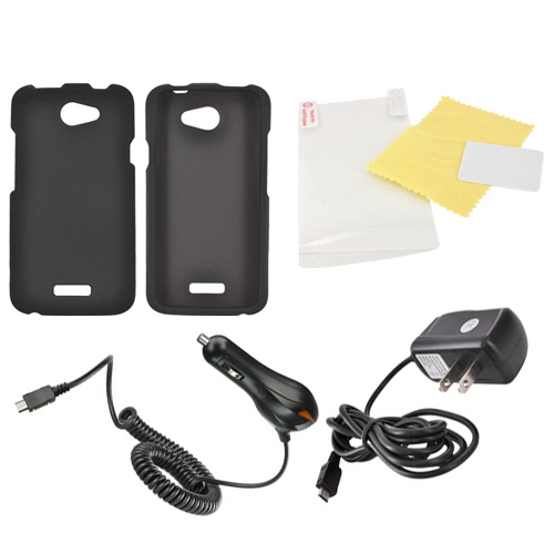 HTC One X Essential Bundle Package w/ Black Rubberized Hard Case, Screen Protector, Car & Travel Charger