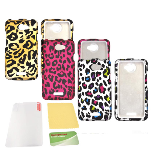 HTC One X Essential Leopard Bundle Package w/ Rainbow Leopard, Hot Pink Leopard, & Gold Leopard Rubberized Hard Cases & Mirror Screen Protector