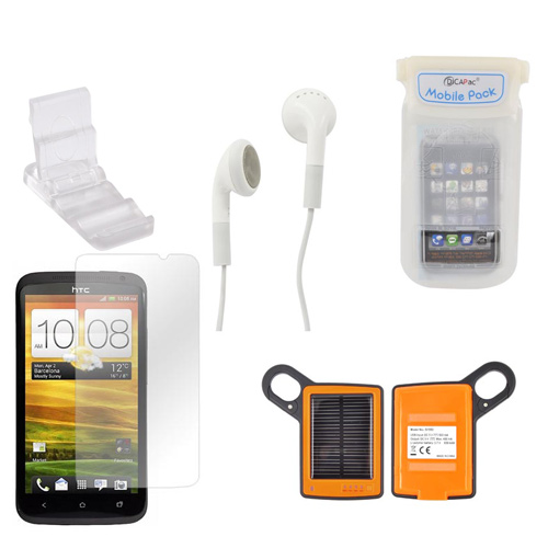HTC One X Summer Bundle Package w/ DiCAPac Waterproof Phone Case, Anti-Glare Screen Protector, Solar Charger, 3.5mm Earbuds, and Portable Keychain Kick Stand