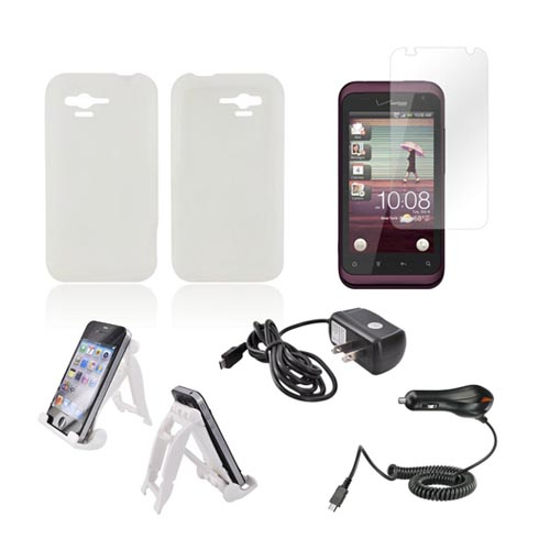 HTC Rhyme Essential Bundle Package w/ Clear Silicone Case, Screen Protector, White 3Feet Stand, Car & Travel Charger