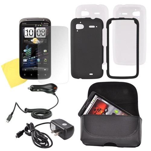 HTC Sensation 4G Essential Bundle w/ Black Rubberized Hard Case, Frost White Silicone Case, Screen Protector, Leather Pouch, Travel & Car Charger Charger