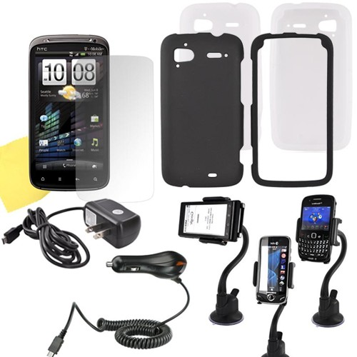 Htc Sensation 4g Combo W/ Black Rubberized Hard Case, Frost White Skin, Screen Protector, Macally Suction Cup Holder, Travel & Car Charger Charger