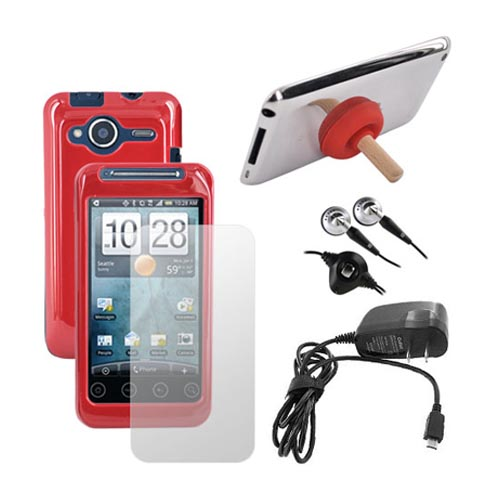 HTC EVO Shift 4G Essential Bundle w/ Red Hard Case, Screen Protector, Travel Charger, Headset, and Plunger Stand