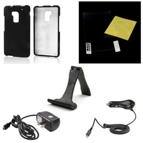 Essential Starter Bundle Package w/ Black Rubberized Hard Case, Screen Protector, Portable Stand, Car & Travel Charger for HTC One Max