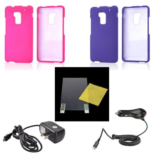 Essential Girly Bundle Package w/ Hot Pink & Purple Rubberized Cases, Mirror Screen Protector, Car & Travel Charger for HTC One Max