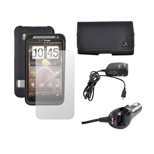HTC Thunderbolt Black Hard Case, Screen Protector, Leather Pouch, Car Charger, and Travel Charger Essential Bundle