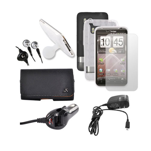 HTC Thunderbolt Black Hard Case, Crystal Silicone Clear Argyle Case, Screen Protector, Leather Pouch, Car Charger, Travel Charger, Suction Stand, and Headset Essential Bundle