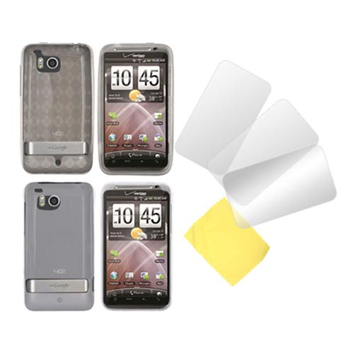 HTC Thunderbolt Clear Hard Case, Crystal Silicone Argyle Smoke Case and 3 Screen Protectors Essential Bundle