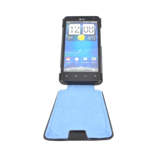 Original Zenus HTC Vivid Leather Bar Series Case, HTRAI-MLSFD-BK - Black w/ Blue Interior