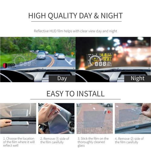 Universal Head Up Display (HUD) Reflective Film - 2 Pack
