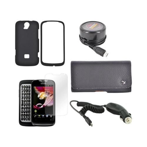 T-Mobile Huawei myTouch Q Essential Bundle Package w/ Black Rubberized Hard Case, Screen Protector, Leather Pouch, Car & Travel Charger