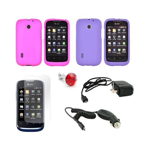 At&t fusion U8652 Girly Combo Package W/ Hot Pink & Purple Rubberized Hard Case, Anti-glare Screen Protector, Red Gem Stopple, Car & Travel Charger