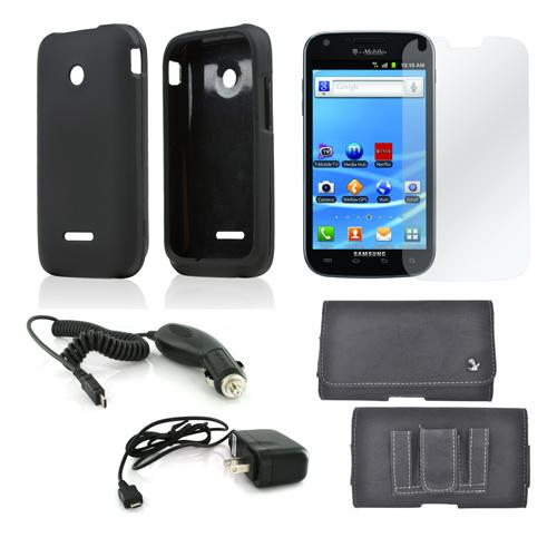 Essential Bundle Package w/ Black Rubberized Hard Case, Screen Protector, Leather Pouch, Car & Travel Charger for T-Mobile Prism 2