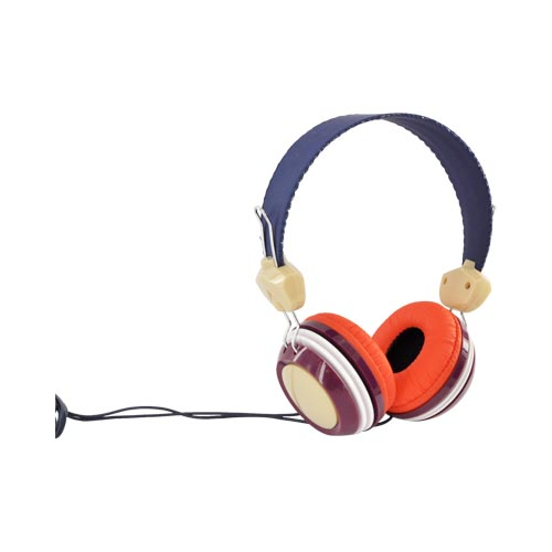 Original HYPE Universal Funky Headphones w/ Ear Cushions (3.5mm), HY-930-BUR - Orange/ Blue/ Burgundy